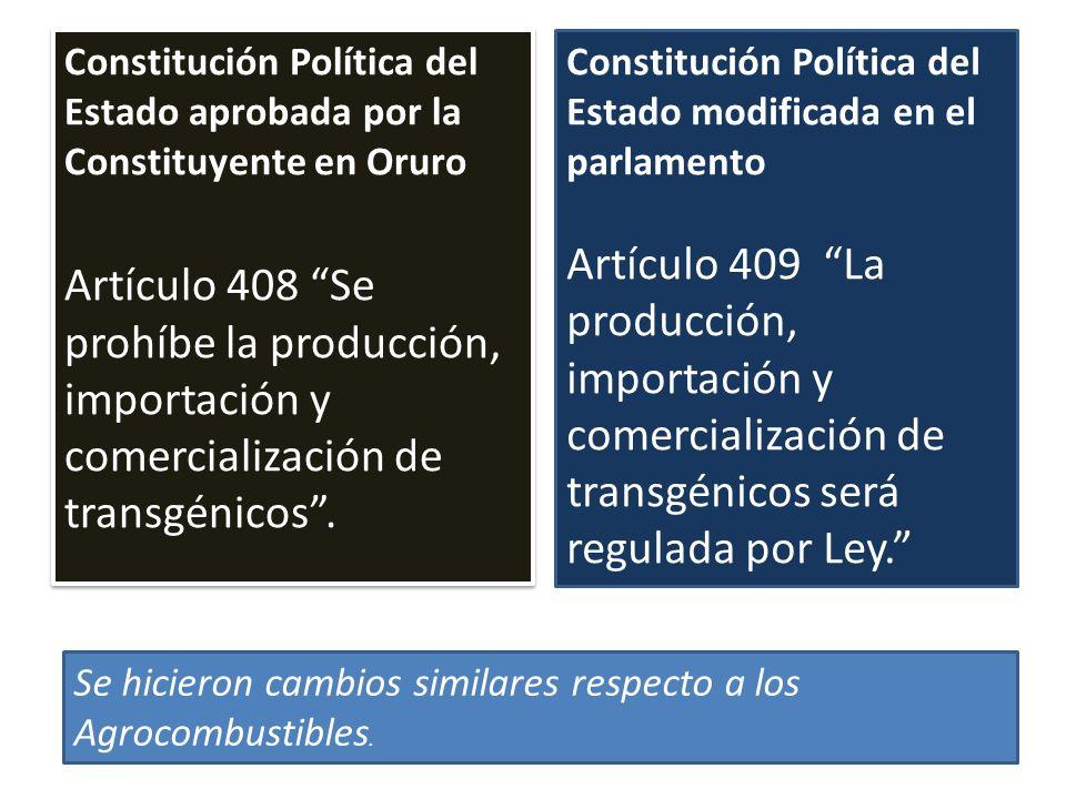 Constitución Política del Estado aprobada por la Constituyente en Oruro