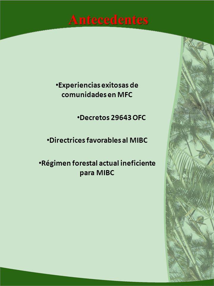 Antecedentes Experiencias exitosas de comunidades en MFC