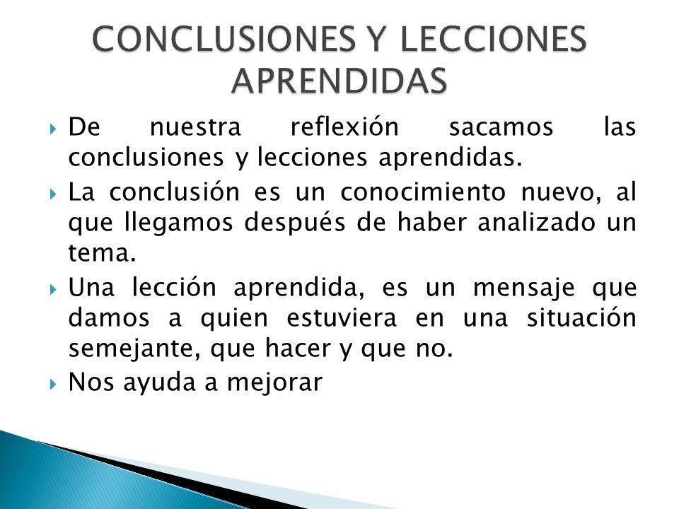 CONCLUSIONES Y LECCIONES APRENDIDAS
