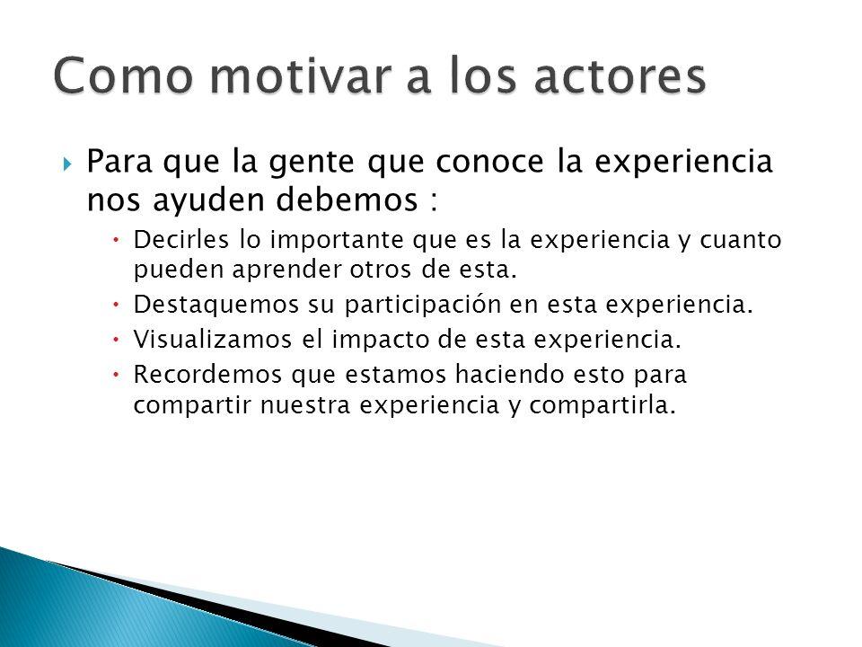 Como motivar a los actores