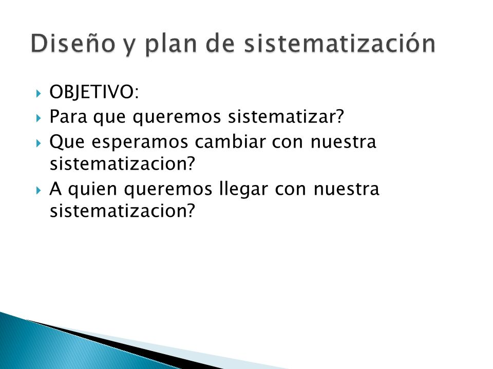 Diseño y plan de sistematización