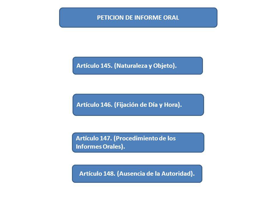 PETICION DE INFORME ORAL Artículo 148. (Ausencia de la Autoridad).