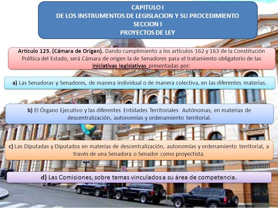 DE LOS INSTRUMENTOS DE LEGISLACION Y SU PROCEDIMIENTO