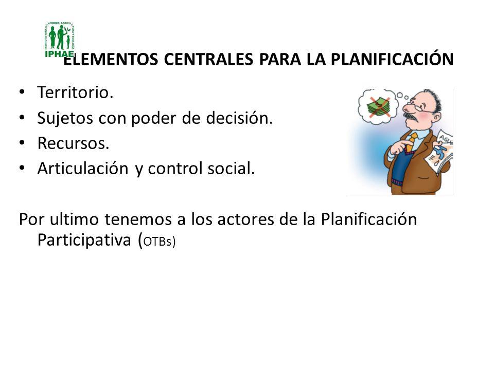 ELEMENTOS CENTRALES PARA LA PLANIFICACIÓN