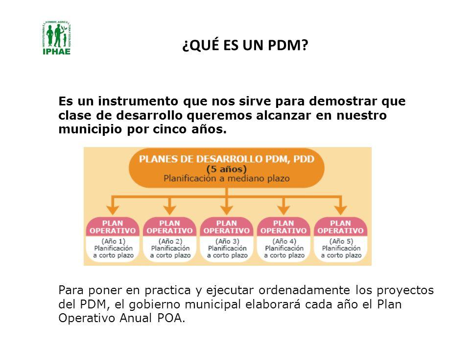 ¿QUÉ ES UN PDM Es un instrumento que nos sirve para demostrar que clase de desarrollo queremos alcanzar en nuestro municipio por cinco años.