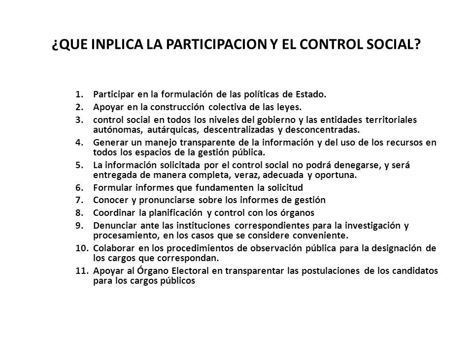 ¿QUE INPLICA LA PARTICIPACION Y EL CONTROL SOCIAL