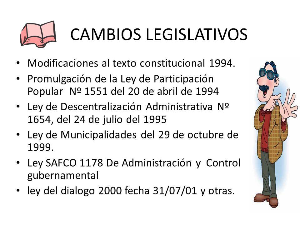 CAMBIOS LEGISLATIVOS Modificaciones al texto constitucional 1994.