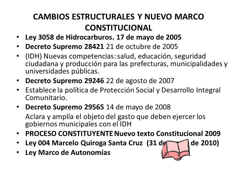 CAMBIOS ESTRUCTURALES Y NUEVO MARCO CONSTITUCIONAL