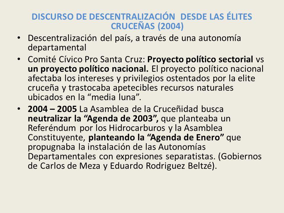 DISCURSO DE DESCENTRALIZACIÓN DESDE LAS ÉLITES CRUCEÑAS (2004)