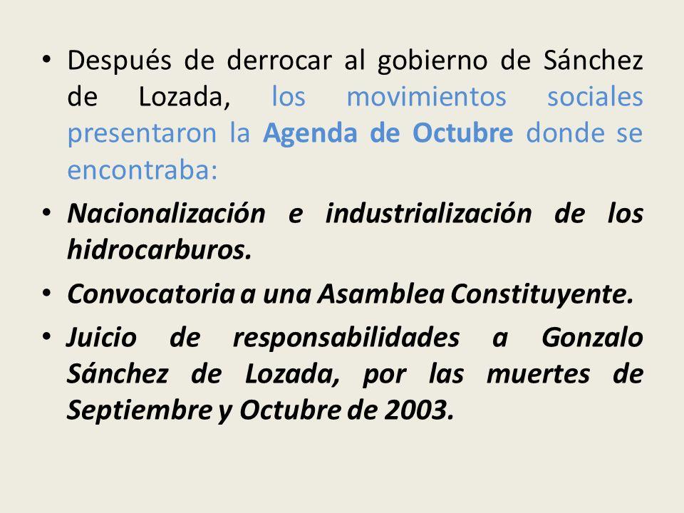 Después de derrocar al gobierno de Sánchez de Lozada, los movimientos sociales presentaron la Agenda de Octubre donde se encontraba: