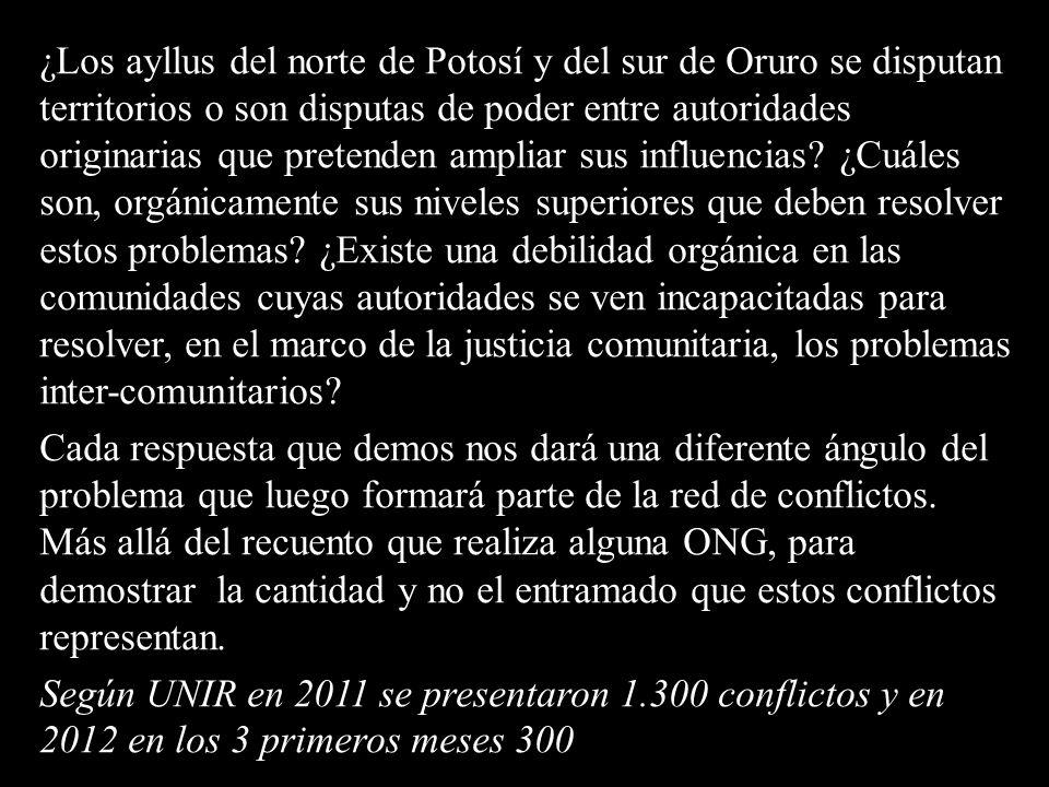 ¿Los ayllus del norte de Potosí y del sur de Oruro se disputan territorios o son disputas de poder entre autoridades originarias que pretenden ampliar sus influencias.
