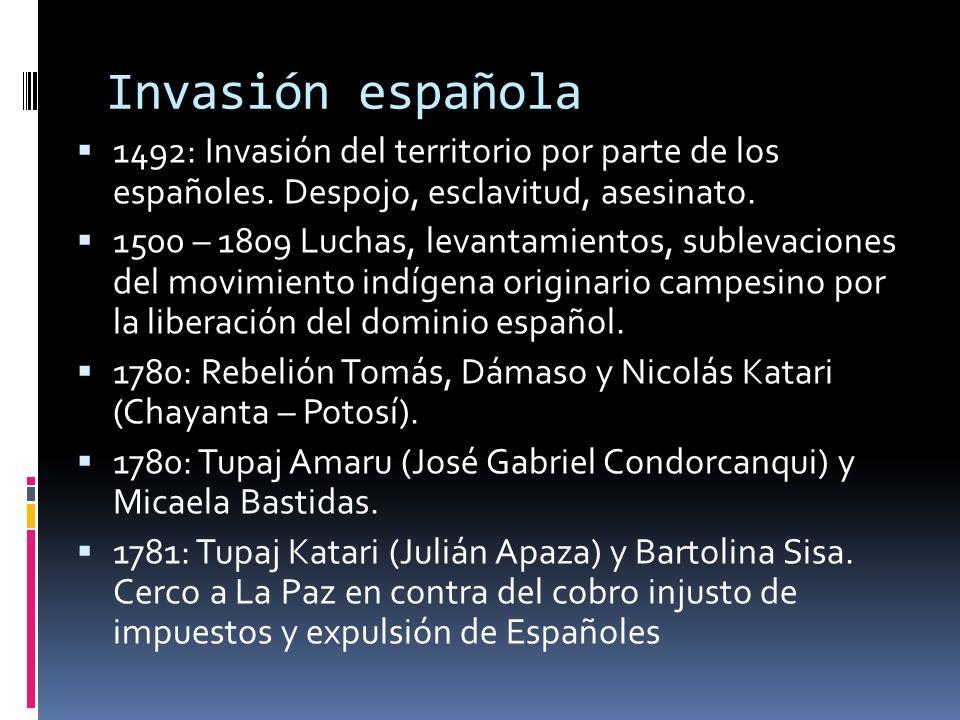 Invasión española 1492: Invasión del territorio por parte de los españoles. Despojo, esclavitud, asesinato.