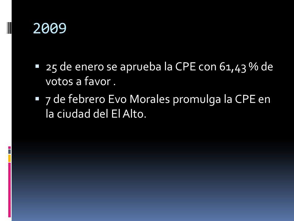 2009 25 de enero se aprueba la CPE con 61,43 % de votos a favor .