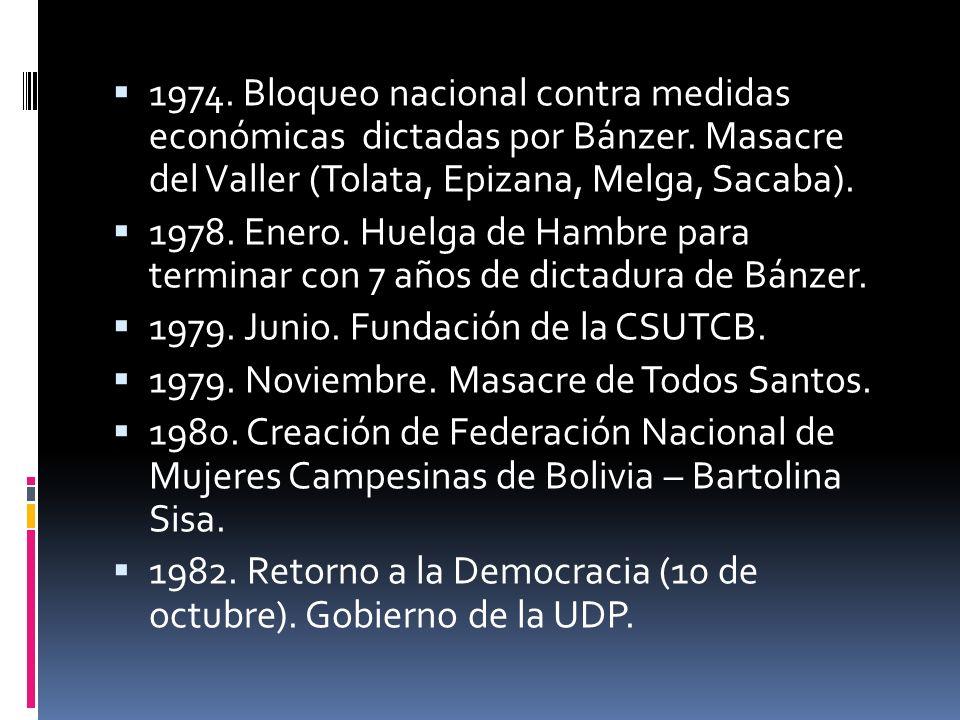 1974. Bloqueo nacional contra medidas económicas dictadas por Bánzer