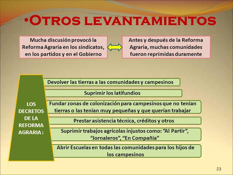 Otros levantamientos Mucha discusión provocó la Reforma Agraria en los sindicatos, en los partidos y en el Gobierno.