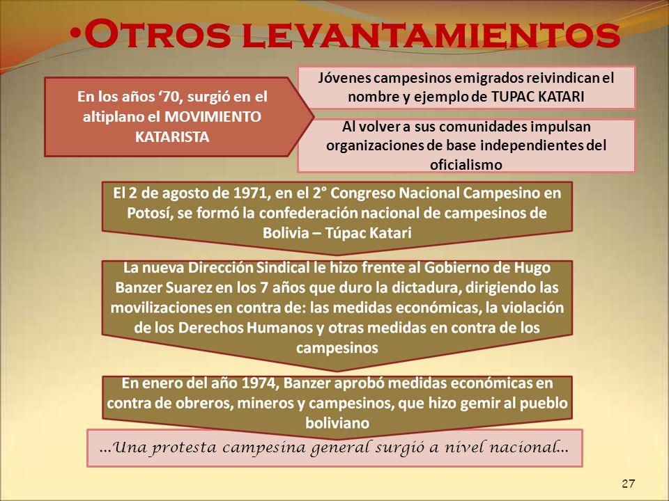 En los años '70, surgió en el altiplano el MOVIMIENTO KATARISTA