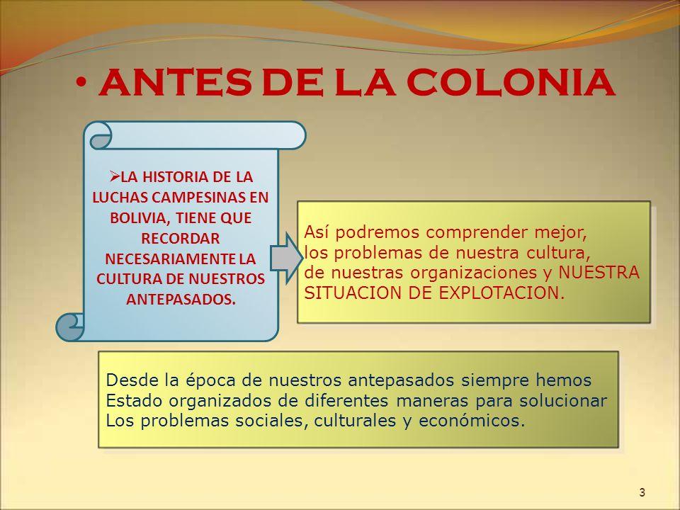 ANTES DE LA COLONIALA HISTORIA DE LA LUCHAS CAMPESINAS EN BOLIVIA, TIENE QUE RECORDAR NECESARIAMENTE LA CULTURA DE NUESTROS ANTEPASADOS.