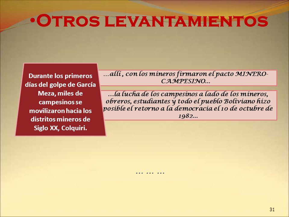 …allí , con los mineros firmaron el pacto MINERO-CAMPESINO...