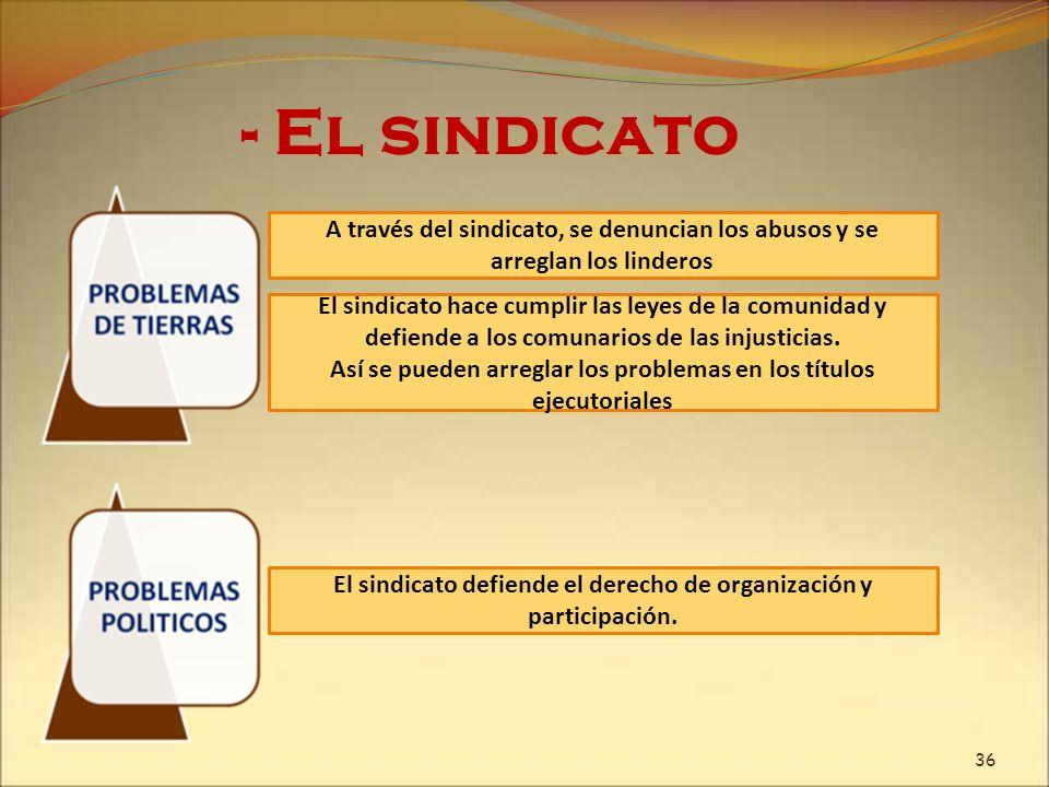 - El sindicatoA través del sindicato, se denuncian los abusos y se arreglan los linderos.
