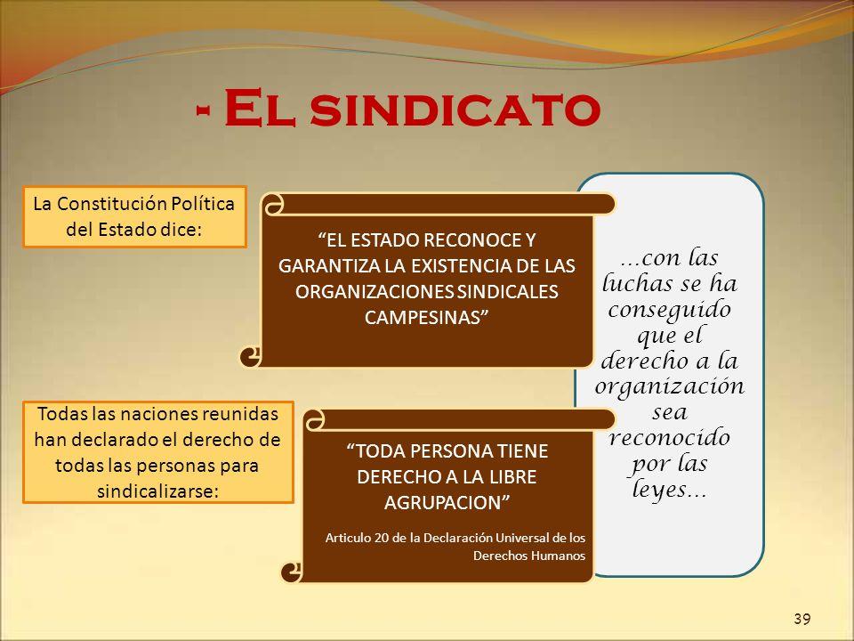 - El sindicato La Constitución Política del Estado dice: