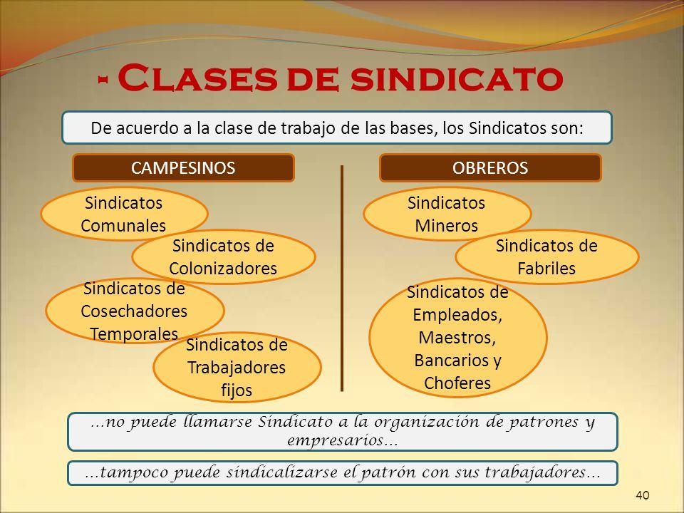 - Clases de sindicatoDe acuerdo a la clase de trabajo de las bases, los Sindicatos son: CAMPESINOS.