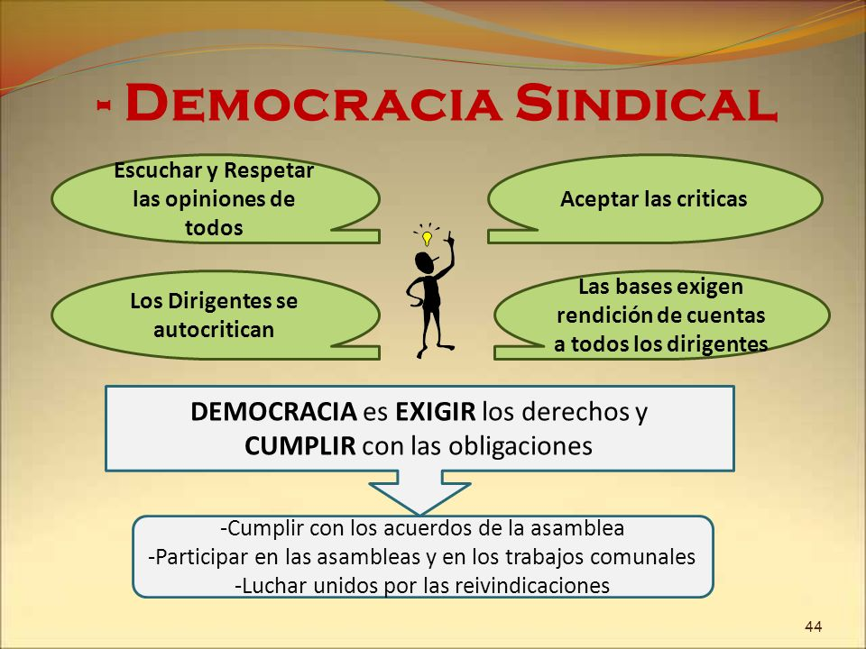 - Democracia SindicalEscuchar y Respetar las opiniones de todos. Aceptar las criticas. Los Dirigentes se autocritican.