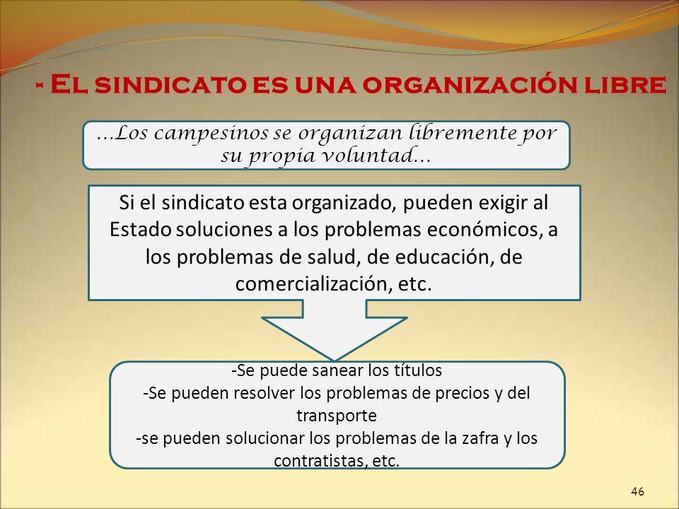 - El sindicato es una organización libre