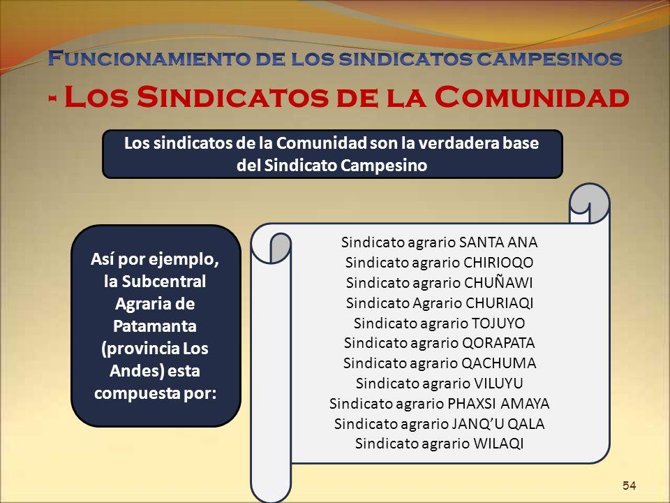 - Los Sindicatos de la Comunidad