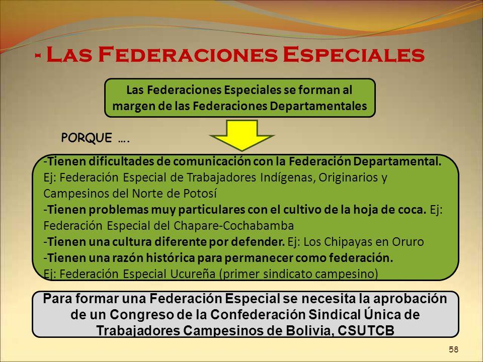 - Las Federaciones Especiales