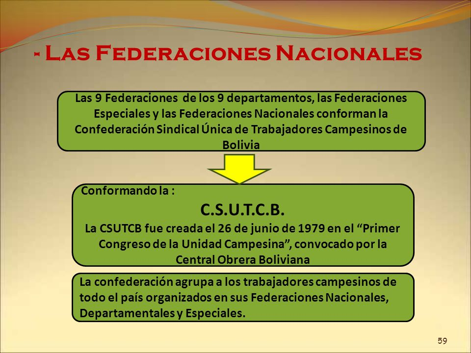 - Las Federaciones Nacionales