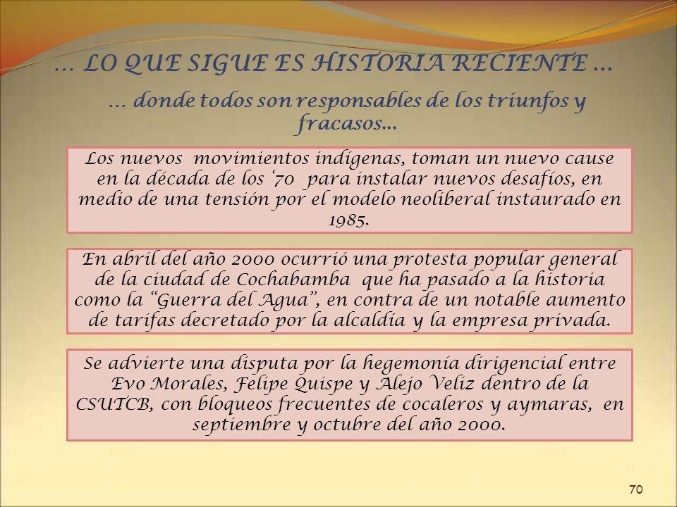 … LO QUE SIGUE ES HISTORIA RECIENTE ...