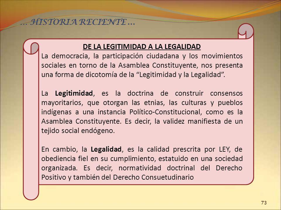 DE LA LEGITIMIDAD A LA LEGALIDAD