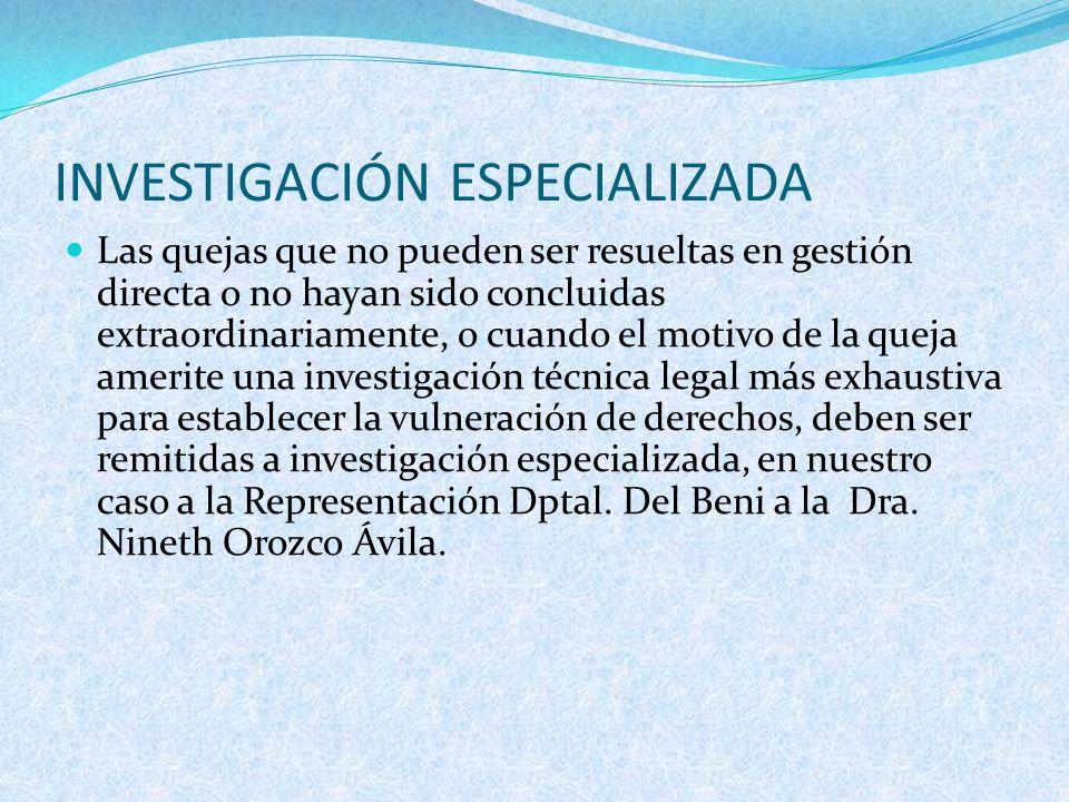 INVESTIGACIÓN ESPECIALIZADA
