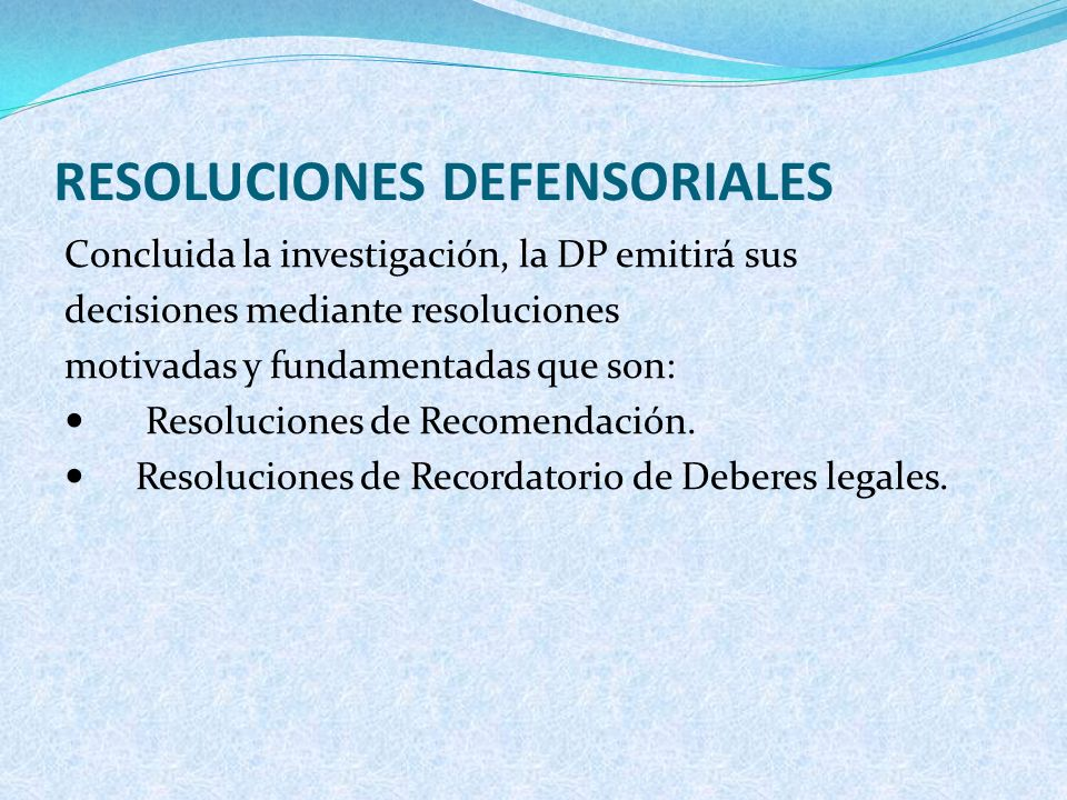 RESOLUCIONES DEFENSORIALES