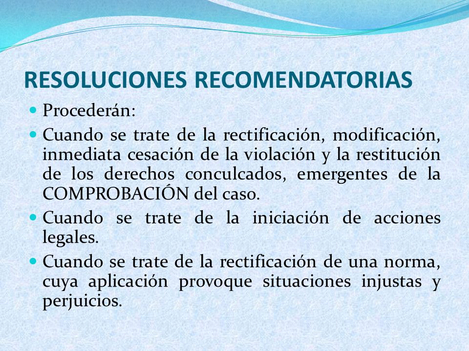 RESOLUCIONES RECOMENDATORIAS