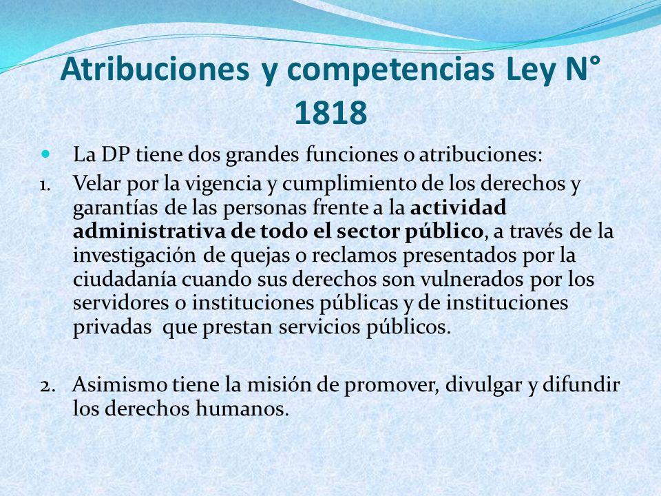 Atribuciones y competencias Ley N° 1818