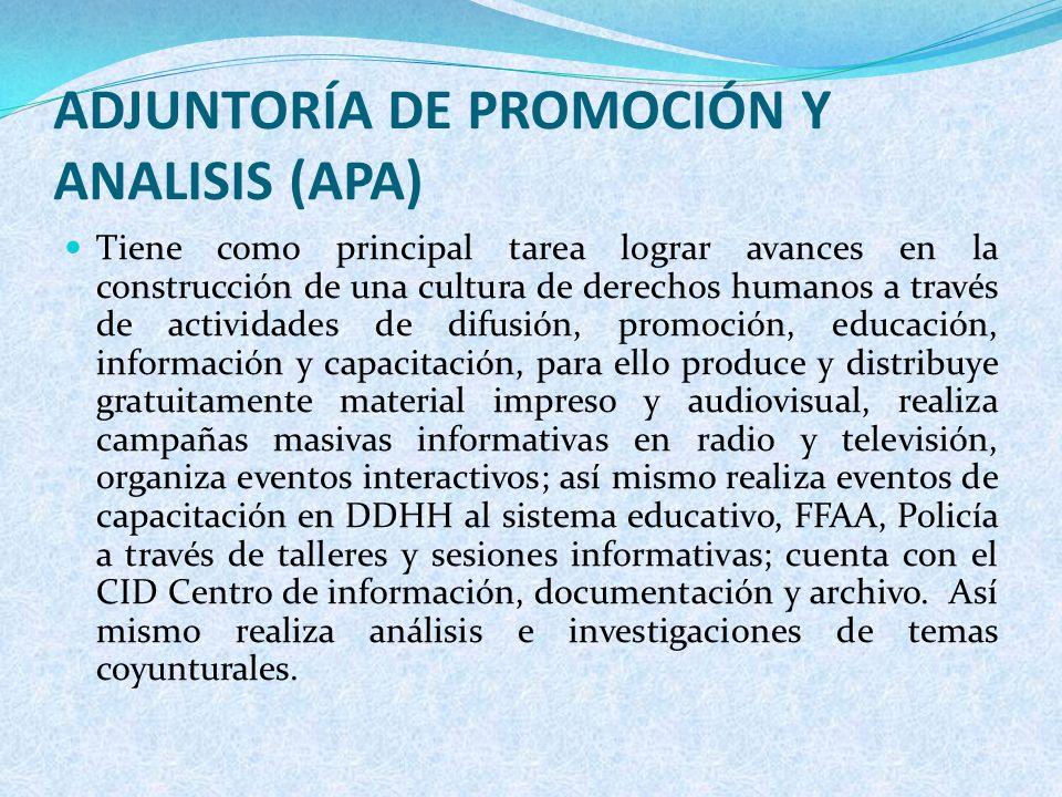 ADJUNTORÍA DE PROMOCIÓN Y ANALISIS (APA)