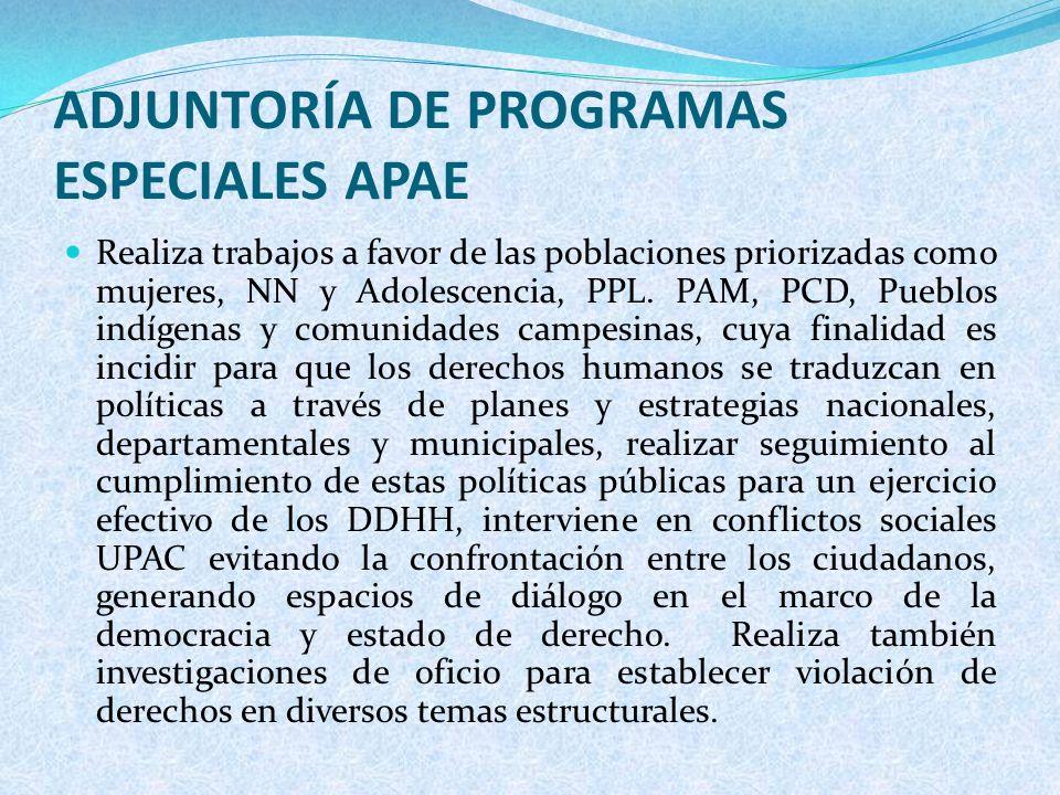 ADJUNTORÍA DE PROGRAMAS ESPECIALES APAE