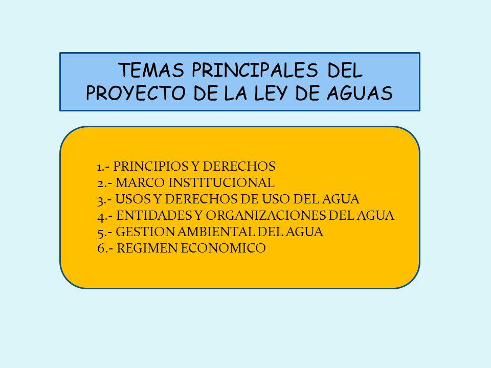 TEMAS PRINCIPALES DEL PROYECTO DE LA LEY DE AGUAS