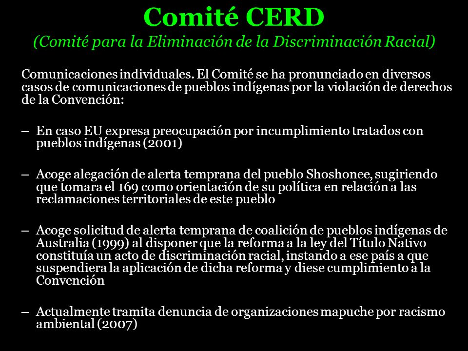 Comité CERD (Comité para la Eliminación de la Discriminación Racial)