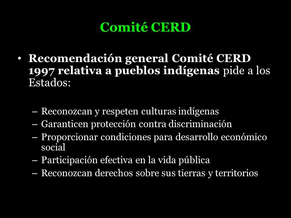Comité CERDRecomendación general Comité CERD 1997 relativa a pueblos indígenas pide a los Estados: Reconozcan y respeten culturas indígenas.