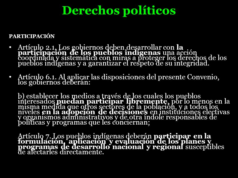 Derechos políticos PARTICIPACIÓN.