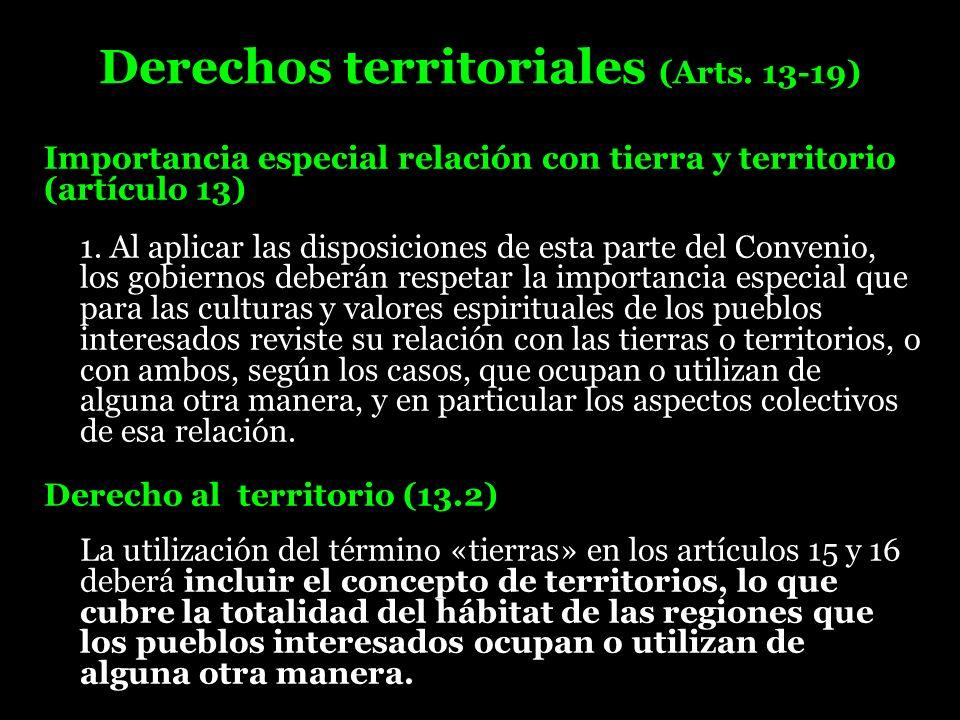 Derechos territoriales (Arts. 13-19)