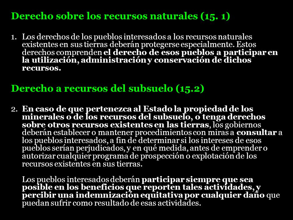 Derecho sobre los recursos naturales (15. 1)