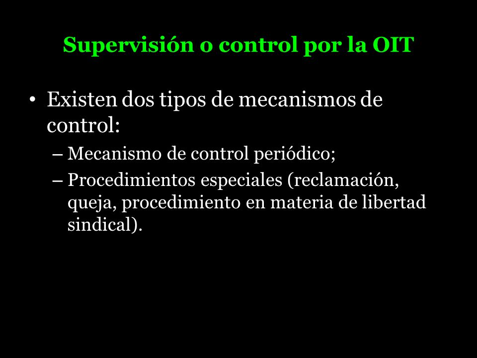 Supervisión o control por la OIT