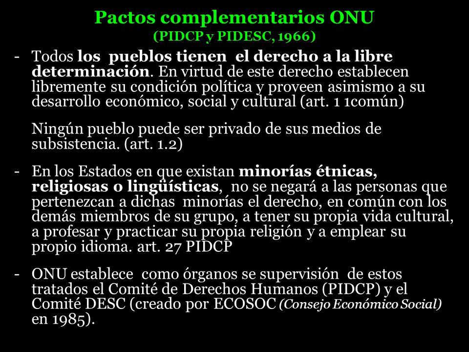 Pactos complementarios ONU (PIDCP y PIDESC, 1966)