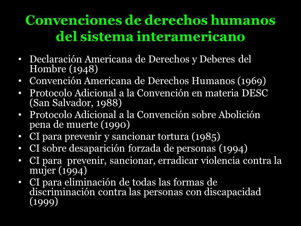 Convenciones de derechos humanos del sistema interamericano