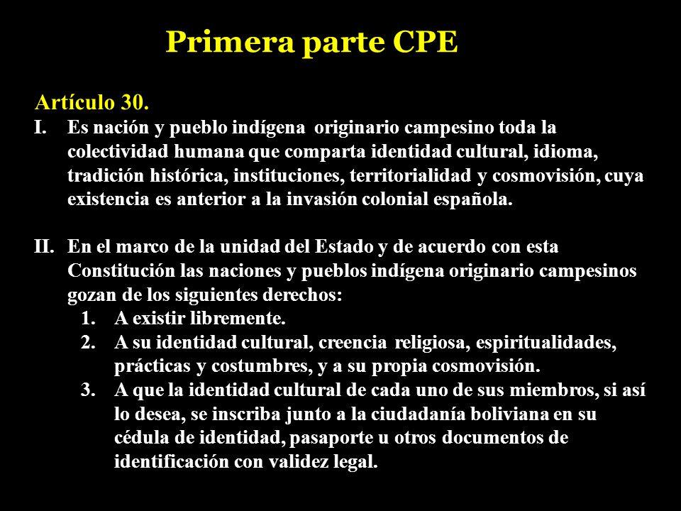 Primera parte CPE Artículo 30.