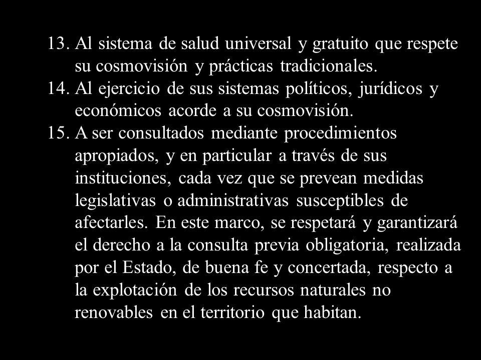 13. Al sistema de salud universal y gratuito que respete su cosmovisión y prácticas tradicionales.