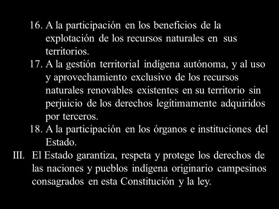 16. A la participación en los beneficios de la explotación de los recursos naturales en sus territorios.